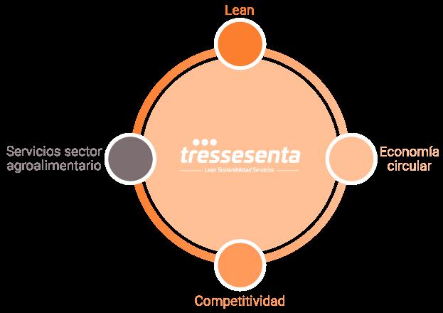 Gráfico sobre Lean, Economía Circular, competitividad y servicios, de la empresa Tressesenta